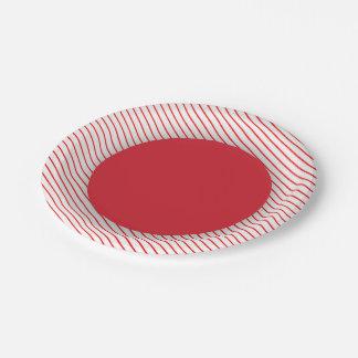 Rojo rayado plato de papel de 7 pulgadas