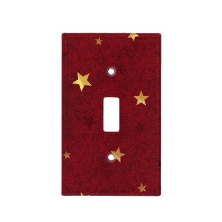 Rojo real de las estrellas que brilla placa para interruptor