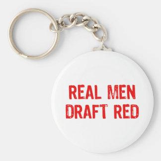 Rojo real del proyecto de los hombres llavero redondo tipo pin