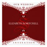 Rojo real+Invitaciones blancas del boda del monogr Comunicados Personales