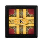 Rojo real y monograma adornado del oro caja de joyas