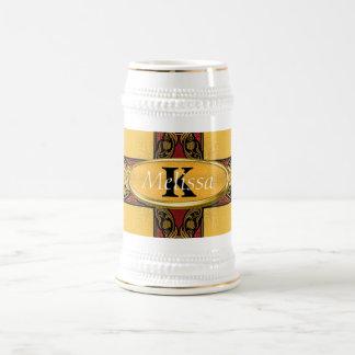 Rojo real y monograma adornado del oro tazas de café
