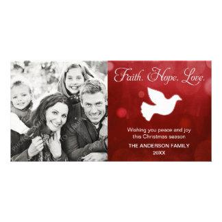 Rojo religioso de la paloma del navidad del amor d tarjeta personal con foto