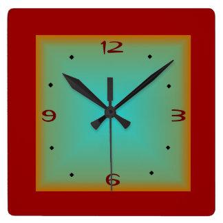 Rojo/reloj de pared minimalista de Green> Reloj Cuadrado