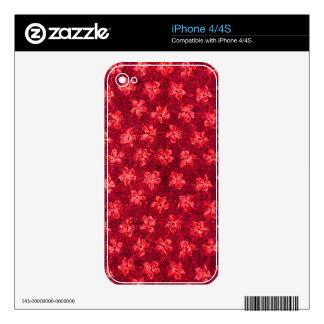 Rojo retro del fuego de las violetas del vintage calcomanía para el iPhone 4