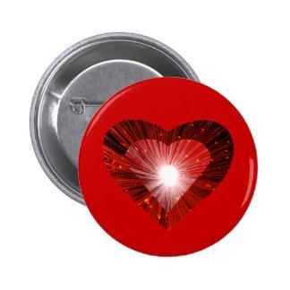 """Rojo rojo de la insignia del botón del """"corazón"""" d pin redondo de 2 pulgadas"""