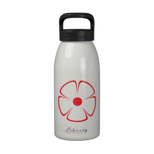 Rojo rojo del estampado de plores 1 botella de agua reutilizable
