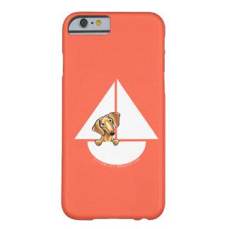 Rojo rojo liso del velero del Dachshund Funda De iPhone 6 Barely There