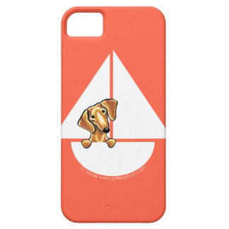 Rojo rojo liso del velero del Dachshund iPhone 5 Carcasas