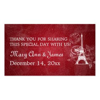 Rojo romántico de París del boda de la etiqueta el Plantillas De Tarjetas Personales