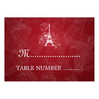 Rojo romántico de Placecards París del boda Tarjeta De Visita