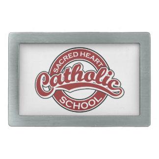 Rojo sagrado de la escuela católica del corazón hebilla de cinturon rectangular
