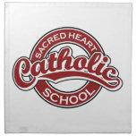 Rojo sagrado de la escuela católica del corazón servilletas imprimidas