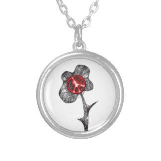 Rojo salvaje de la flor de la paz colgante redondo