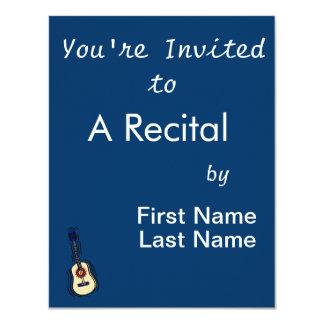 """rojo simple acústico blue.png de la guitarra invitación 4.25"""" x 5.5"""""""