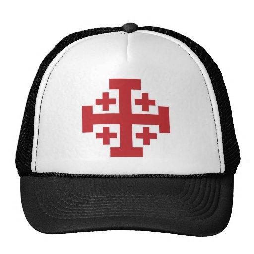 Rojo simple de la cruz de Jerusalén Gorros Bordados