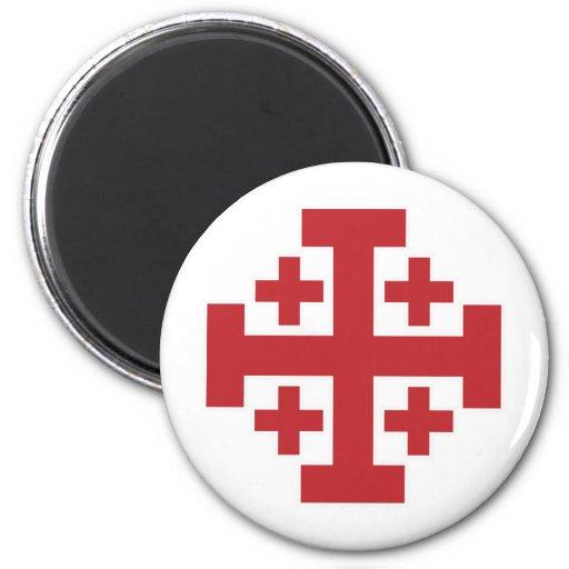 Rojo simple de la cruz de Jerusalén Imán De Frigorifico