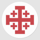 Rojo simple de la cruz de Jerusalén Pegatina Redonda