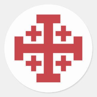 Rojo simple de la cruz de Jerusalén Etiqueta Redonda