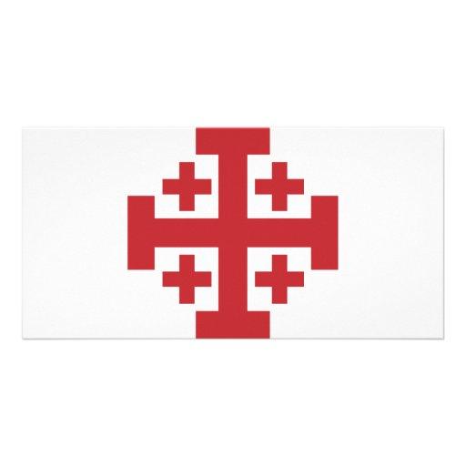 Rojo simple de la cruz de Jerusalén Tarjeta Fotográfica Personalizada