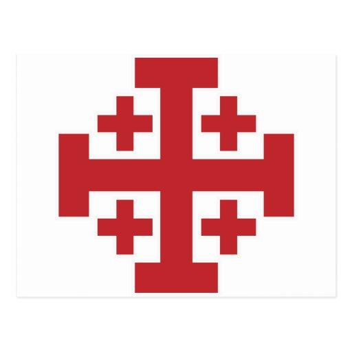 Rojo simple de la cruz de Jerusalén Tarjeta Postal