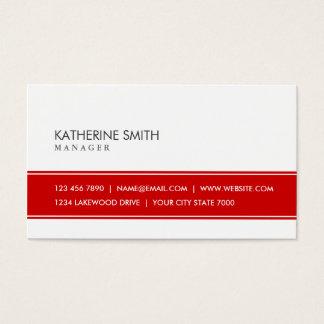 Rojo simple llano elegante y blanco profesionales tarjeta de negocios