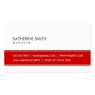 Rojo simple llano elegante y blanco profesionales tarjetas de visita