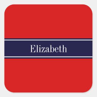 Rojo sólido monograma del nombre de la cinta de a