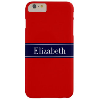 Rojo sólido, monograma del nombre de la cinta de funda barely there iPhone 6 plus