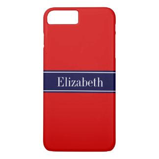 Rojo sólido, monograma del nombre de la cinta de funda iPhone 7 plus