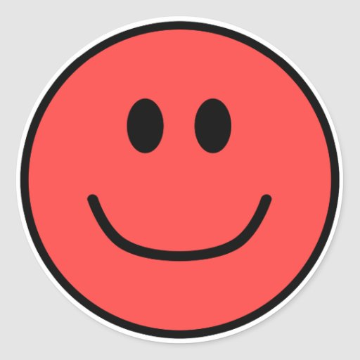 Rojo sonriente 0002 de los pegatinas de la cara pegatina redonda
