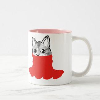 Rojo sonriente del cuello alto del gato taza de dos tonos