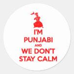 (ROJO) soy Punjabi y no permanecemos tranquilos Pegatina Redonda