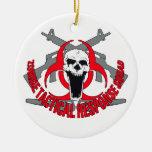 Rojo táctico del zombi ornamentos de navidad