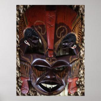 Rojo tallado de madera tribal africano ritual de B Impresiones
