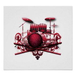 rojo-tambor-diseño poster