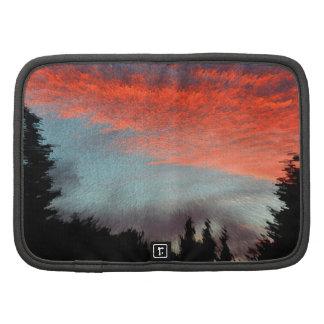 Rojo tarde, puesta de sol, estado de ánimo, nubes, planificadores