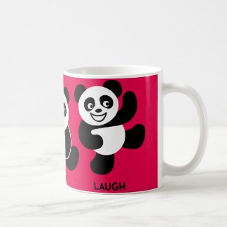 Rojo - taza de café feliz de 3 pandas