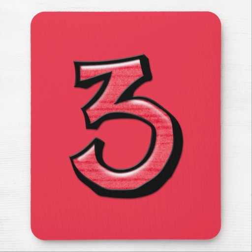 Rojo tonto Mousepad del número 3 Tapete De Ratón