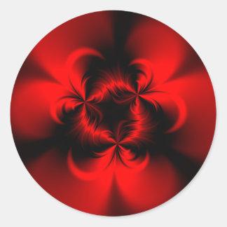 Rojo torcido pegatina redonda