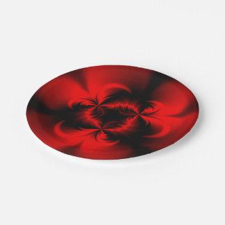 Rojo torcido plato de papel de 7 pulgadas