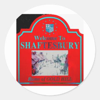 Rojo Torquise de Shaftesbury Pegatina Redonda