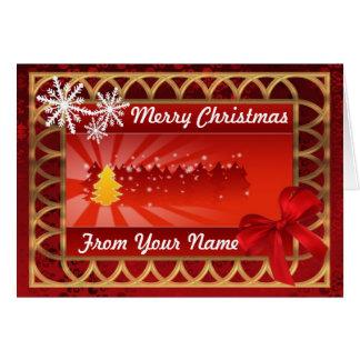 Rojo tradicional y navidad personalizado oro tarjeta de felicitación