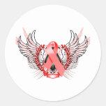 Rojo tribal de la conciencia pegatina redonda
