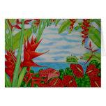 Rojo tropical tarjeta de felicitación