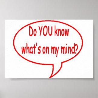 ¿Rojo USTED sabe cuál está en mi mente? Burbuja de Poster