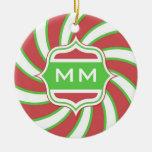 Rojo verde espiral retro del monograma del navidad ornamento de navidad