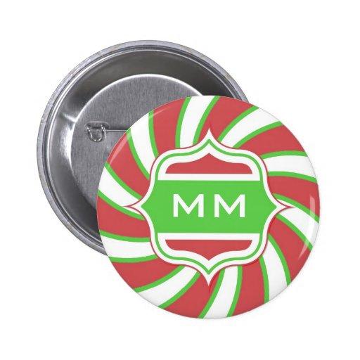 Rojo verde espiral retro del monograma del navidad pin redondo de 2 pulgadas