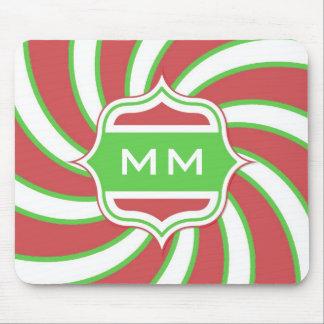 Rojo verde espiral retro del monograma del navidad alfombrillas de ratones