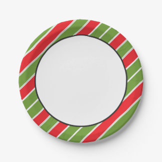 Rojo, verde y blanco del modelo el | de la raya plato de papel de 7 pulgadas